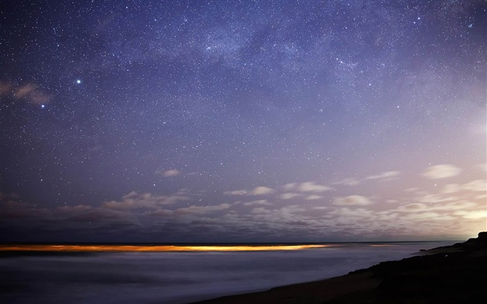 stars sky night sea horizon-Natural landscape HD wallpaper Views:12085