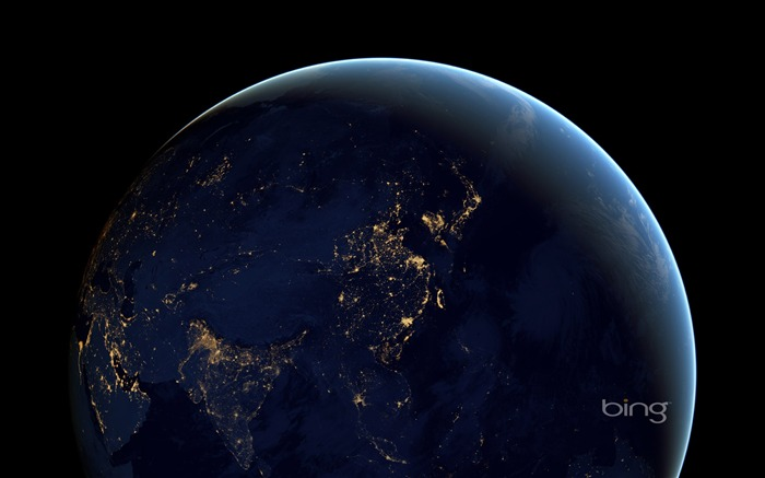 Earth at night in space-May 2013 Bing wallpaper Views:3792