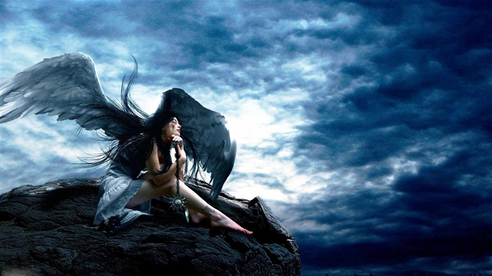 angel sky rocks height wings-Fantasy design HD wallpaper Views:3510
