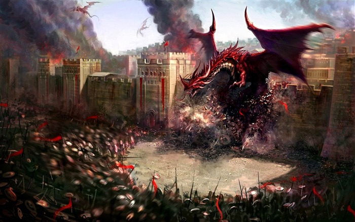 dragons city wall-Fantasy design HD wallpaper Views:4641