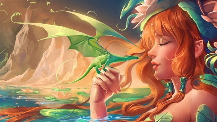 girl dragon baby mountains water water lily-Fantasy design HD wallpaper Views:3285
