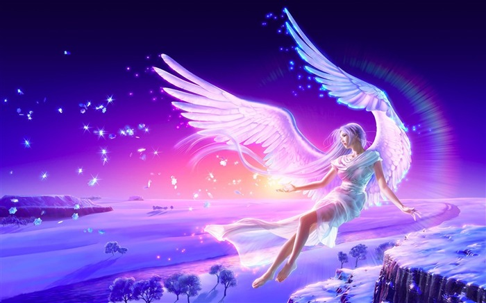 girl flying angel wings lights-Anime design HD wallpaper Views:30263