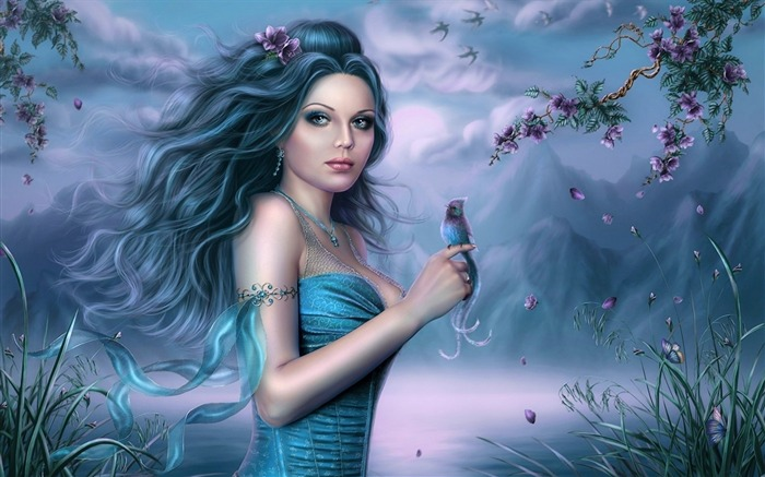 girl hair bird finger petals-Fantasy design HD wallpaper Views:3657