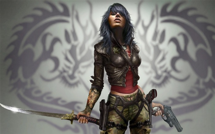 girl pistol sword weapon-Fantasy design HD wallpaper Views:4322