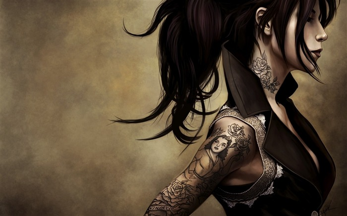 girl profile tattoos shoulder-Fantasy design HD wallpaper Views:3560