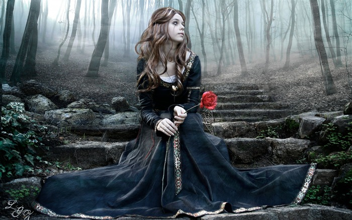 girl rose steps dress tears ink-Fantasy design HD wallpaper Views:3285