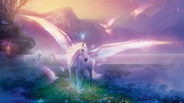 pegasus horse magic flowers-Fantasy design HD wallpaper Views:2267