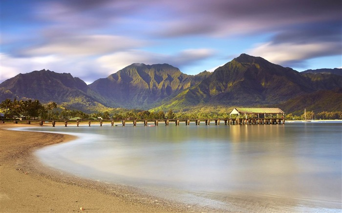 pier beach sand mountains water-Beautiful natural scenery wallpaper Views:3473