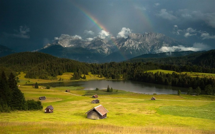 rainbow lodges glade valley sky-Beautiful natural scenery wallpaper Views:5202