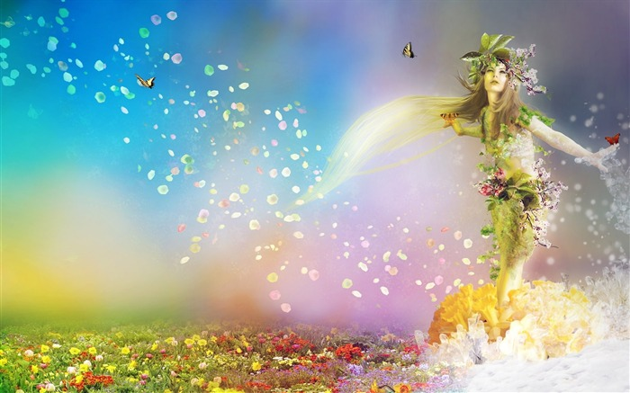 spring nature flowers butterflies girl-Fantasy design HD wallpaper Views:2292