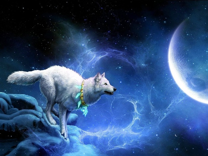 wolf arrivals moon breakage-Fantasy design HD wallpaper Views:5955