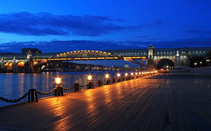 moscow bridge pushkin embankment night-city photography HD Wallpaper Views:4810