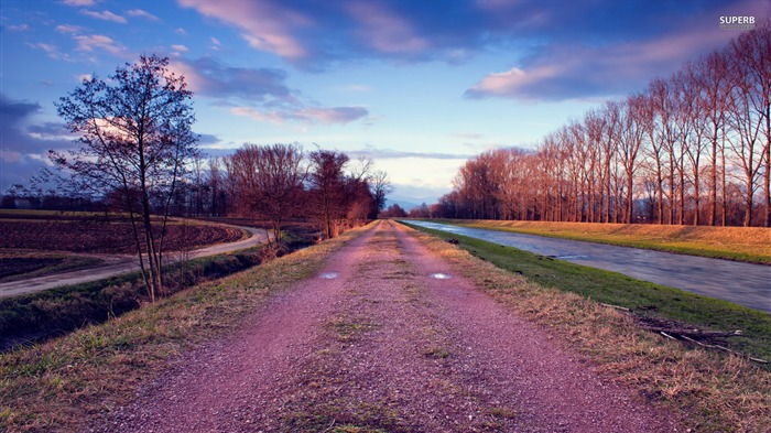 riverside road-Landscape photography wallpaper Views:3850