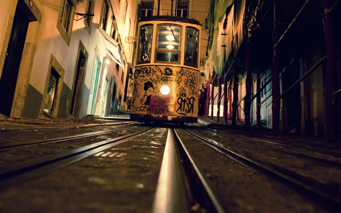 tram rails evening graffiti street-city photography HD Wallpaper Views:4943