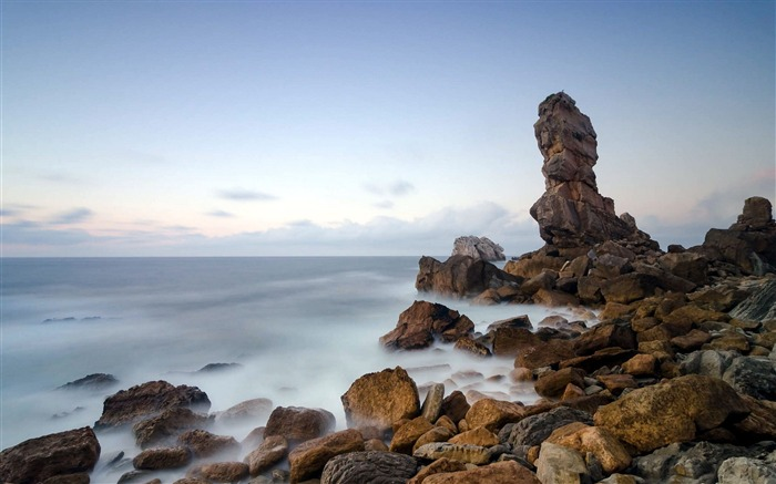 Rocky beach-Summer landscape HD wallpaper Views:5786