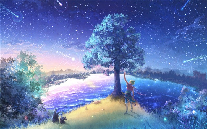 Second element of the Fireflies Summer Cartoon Desktop Wallpaper Views:13459
