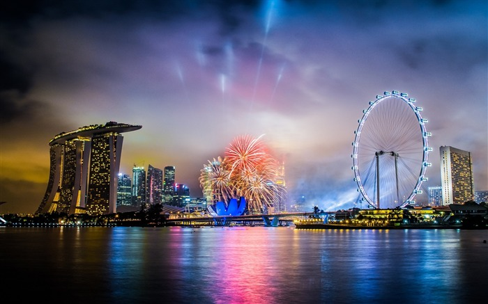 Singapore hotel night fireworks-Cities architectural photo wallpaper Views:15075