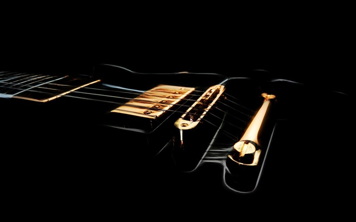 black electric guitar-Music theme wallpaper Views:10249