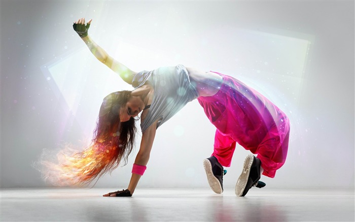breakdance girl-Music theme wallpaper Views:5041