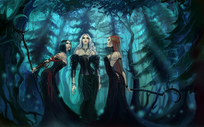 girls witches wood dresses-Fantasy Design HD Wallpapers Views:2847