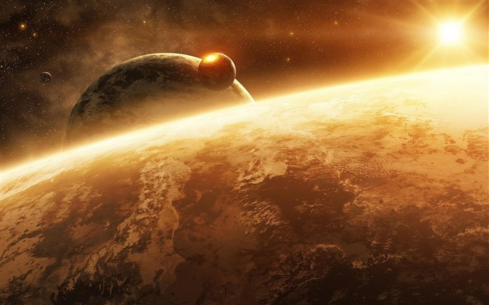 planet sun light stars-Space Discovery HD Wallpaper Views:5188