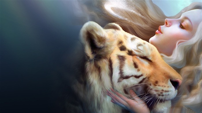 tiger and girl-Abstract design HD wallpaper Views:1902