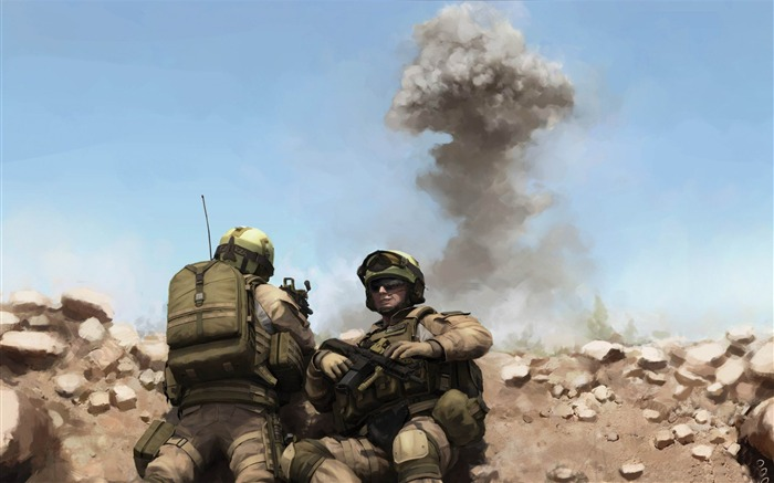 war soldiers painting-Military Widescreen Wallpaper Views:3975