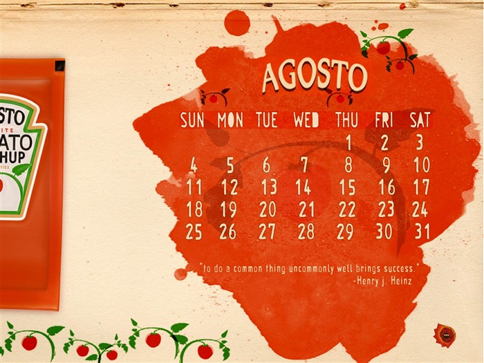 Agosto Ketchup-August 2013 calendar wallpaper Views:3905