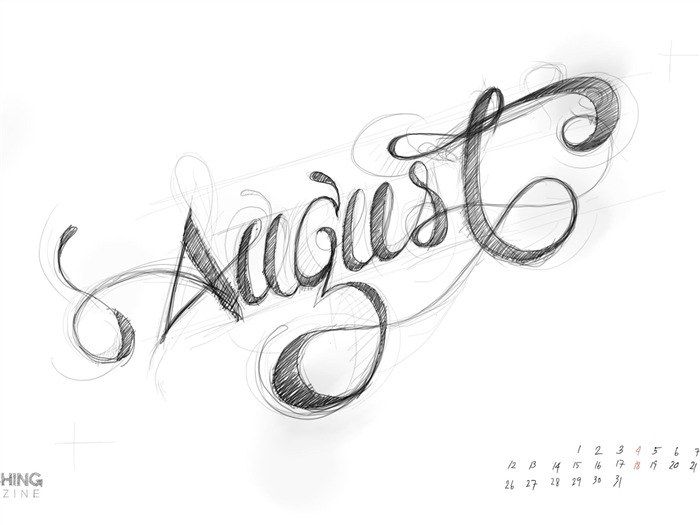 Handwritten August-August 2013 calendar wallpaper Views:3893