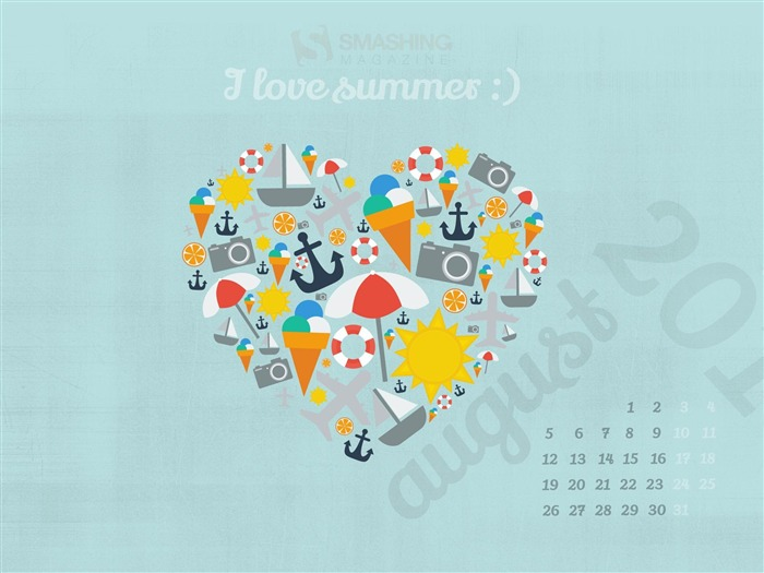 I Love Summer-August 2013 calendar wallpaper Views:4123
