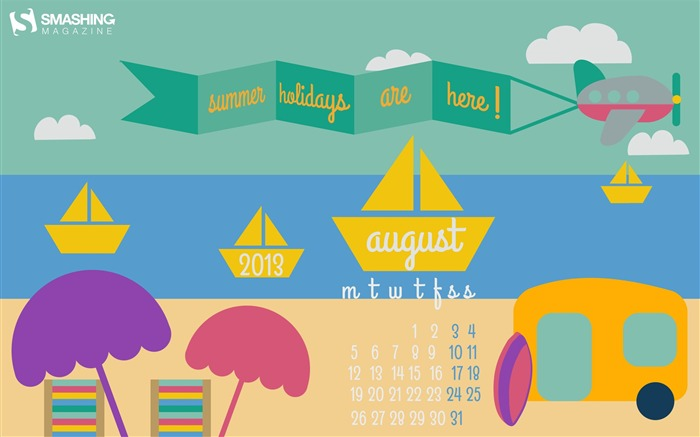 Summer Holidays-August 2013 calendar wallpaper Views:4267