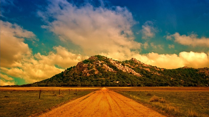 dirt road to the mountain-Best Scenery HD Wallpaper Views:2391