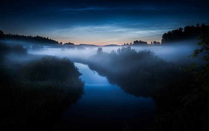 foggy night at the river-Best Scenery HD Wallpaper Views:3084