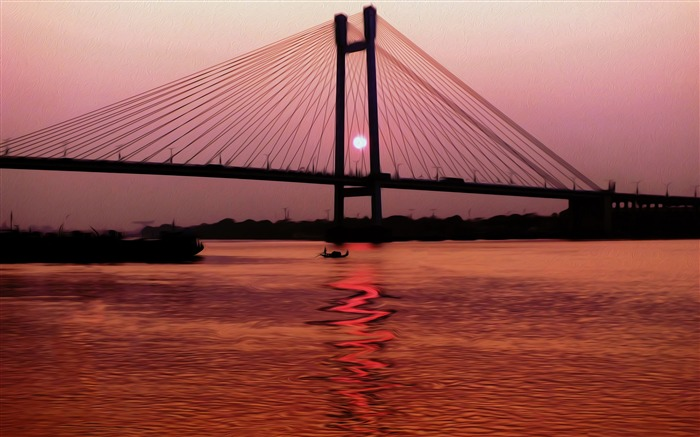 kolkata bridge india-Landscape Pics HD Wallpaper Views:4371