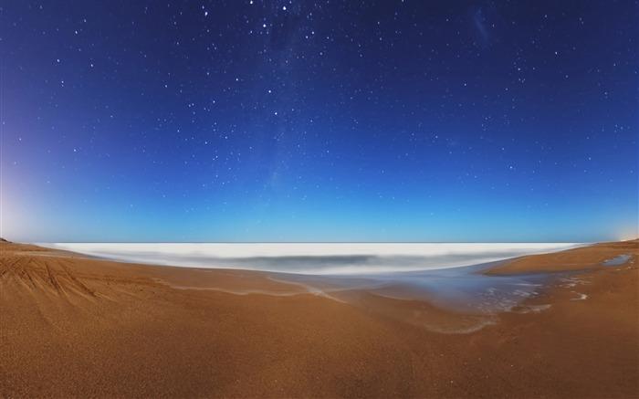 星空海滩-海洋风景桌面壁纸 预览图片
