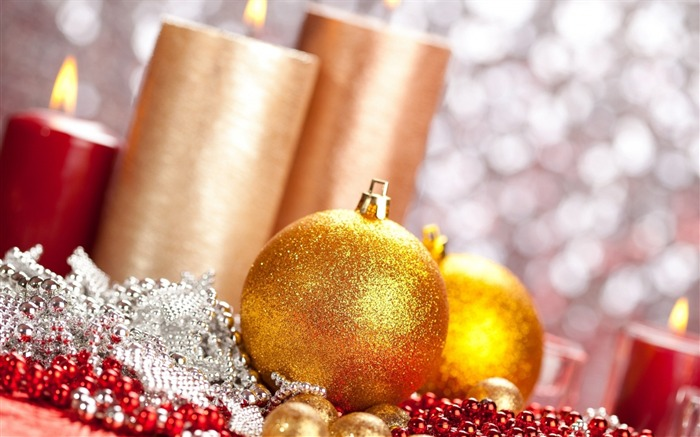 ball christmas candles new year-Festival theme wallpaper Views:3416