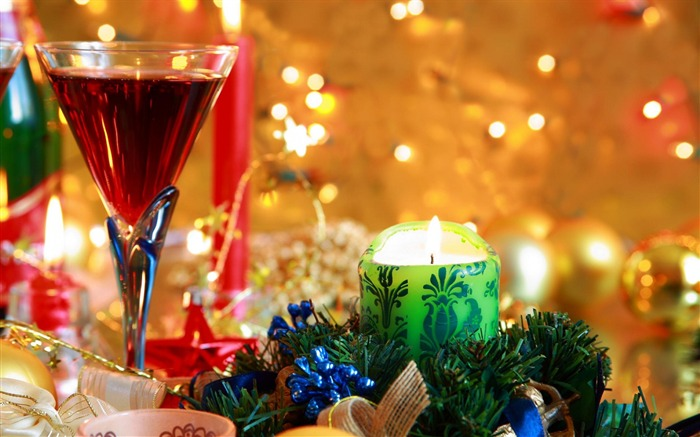 beverage wine glass candles-holiday theme wallpaper Views:3996