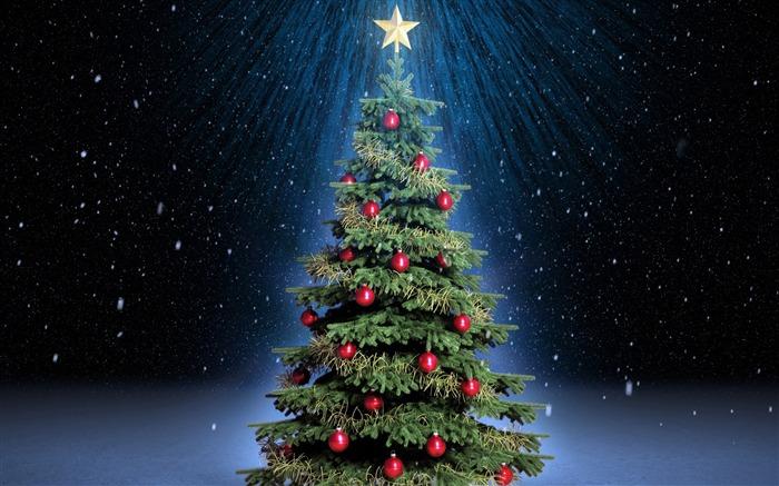 圣诞树雪-节日高清壁纸
