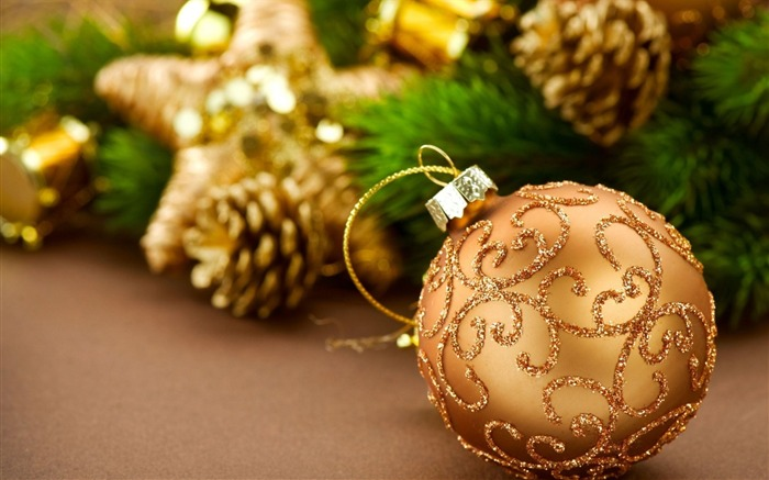 christmas decorations pine cones new year-Holidays wallpaper Views:2699