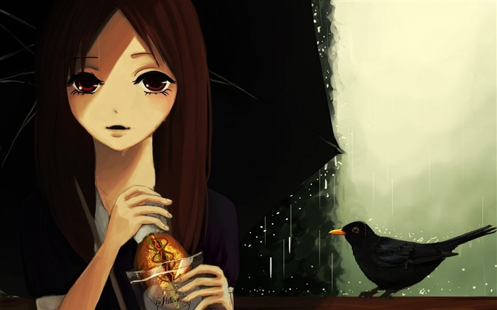 girl umbrella rain bird-HD Desktop Wallpaper Views:2319