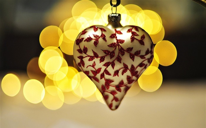 heart christmas decoration bokeh lights-Holidays wallpaper Views:2561