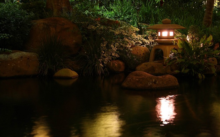 lamp pond light china stones-Photography HD Wallpaper Views:2220