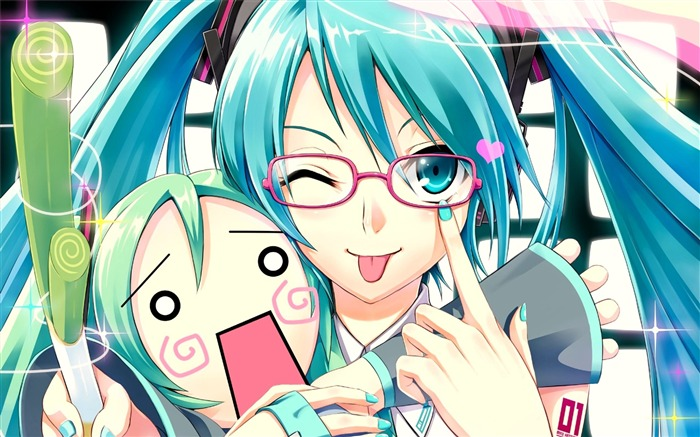 vocaloid girl glasses-HD Design Wallpapers Views:2001