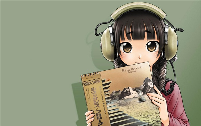 Cute anime girl wearing headphones wallpaper Views:8842