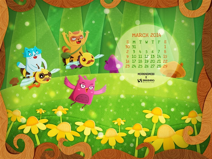 Flying Into Spring-March 2014 calendar wallpaper Views:2900