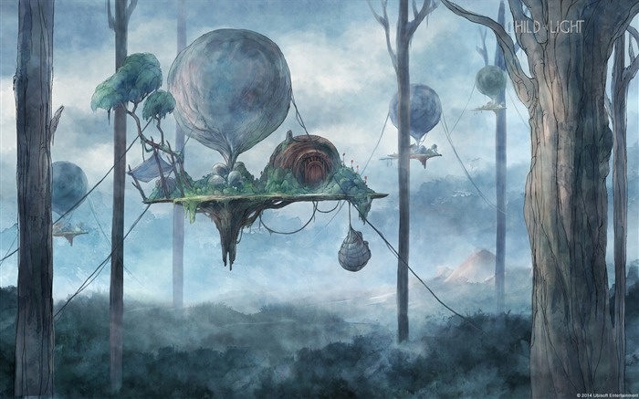 Child of Light forest balloon-Windows Theme Wallpaper Views:3100
