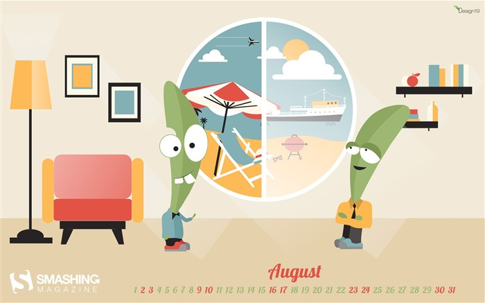 Enjoy The Last Month Of Summer-August 2014 calendar wallpaper Views:2160