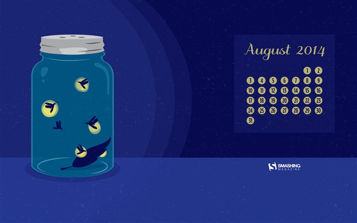 Fireflies-August 2014 calendar wallpaper Views:3161