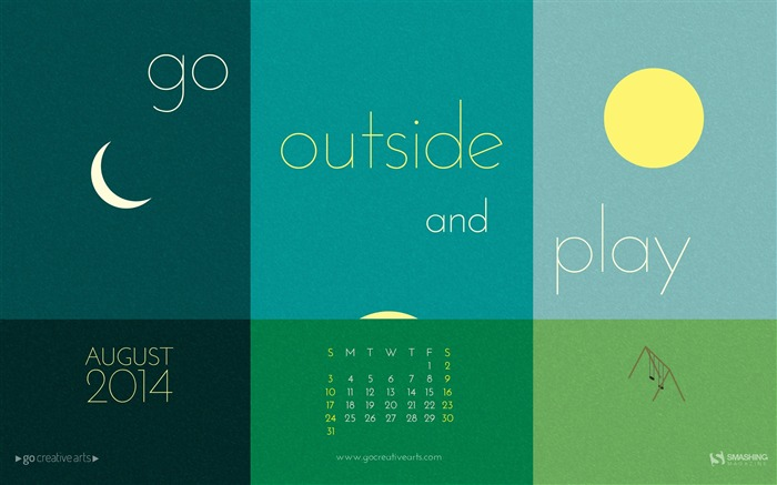 Go Outside And Play-August 2014 calendar wallpaper Views:3049