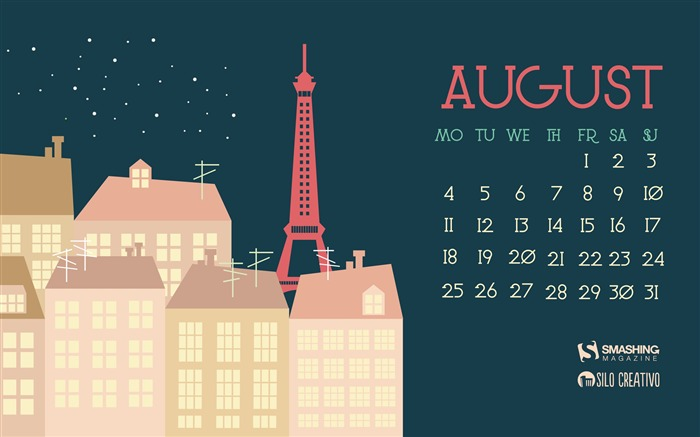 Paris Night-August 2014 calendar wallpaper Views:1787